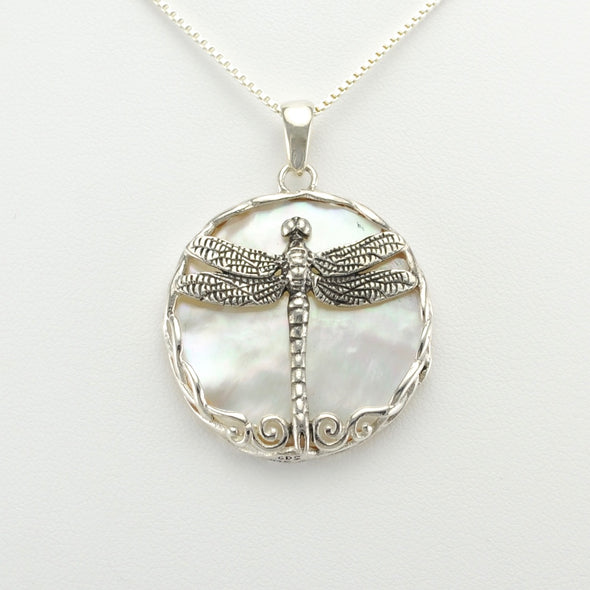 Silver Mother of Pearl Dragonfly Pendant