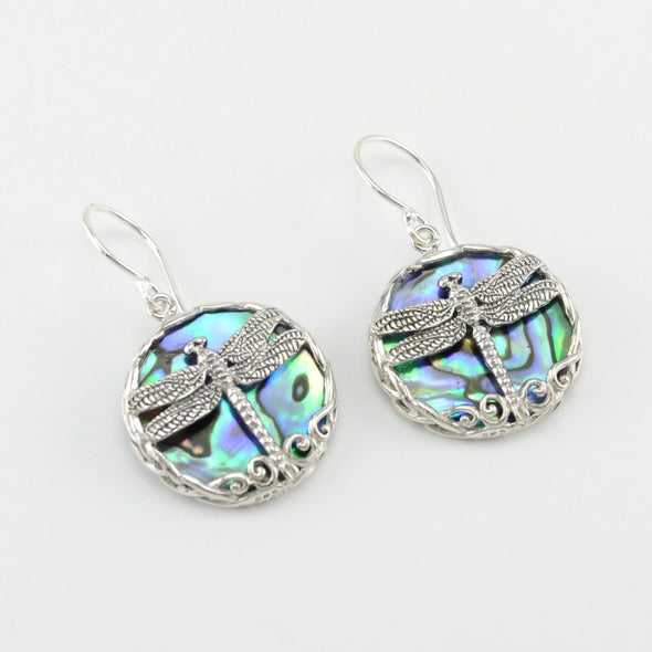 Silver Abalone Dragonfly Dangle Earrings
