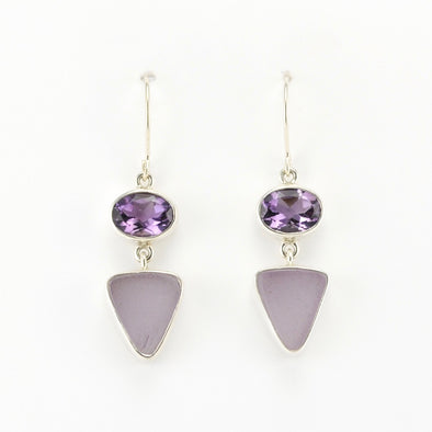 Amethyst Sea Glass Dangle Earrings