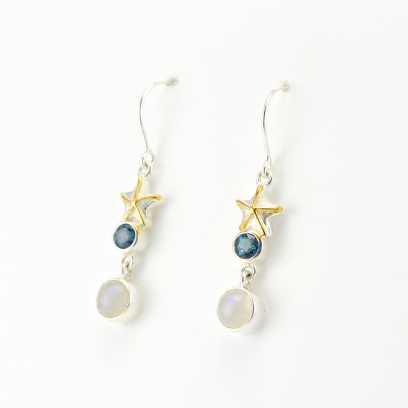 Side View Starfish Topaz Moonstone Earrings