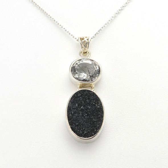 Tourmalinated Quartz Druzy Necklace