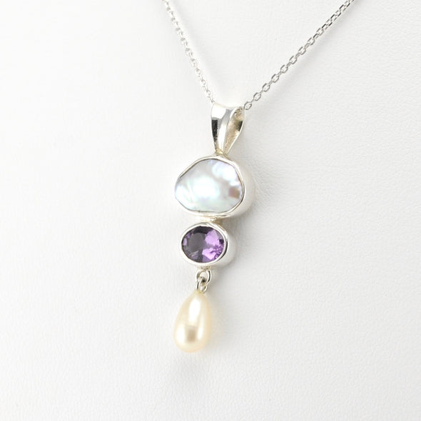 Keshi Pearl Amethyst Freshwater Pearl Necklace