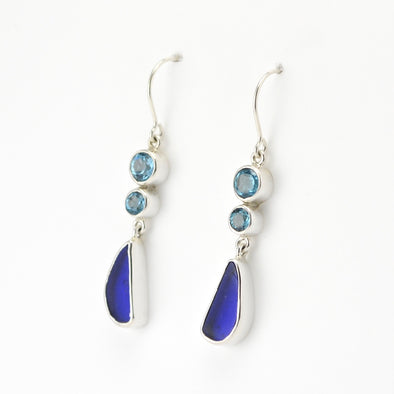 Blue Topaz Sea Glass Earrings