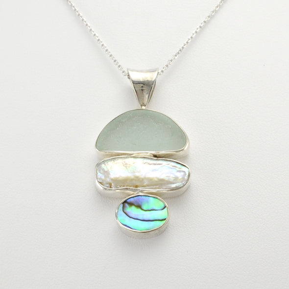 Sea Glass Biwa Pearl Abalone Pendant