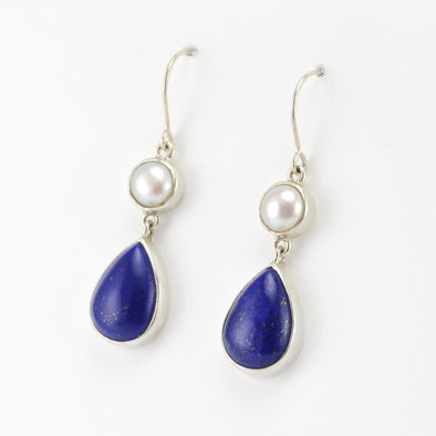 Pearl Lapis Tear Earrings
