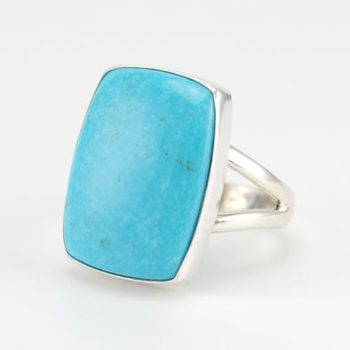 Silver Arizona Turquoise Rect Ring