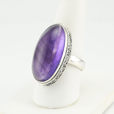 Silver Amethyst Oval Cabochon Ring