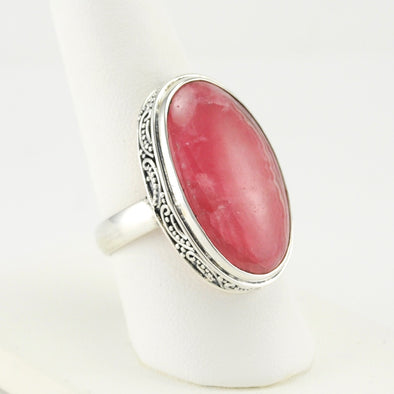Silver Rhodochrosite Long Oval Bali Ring
