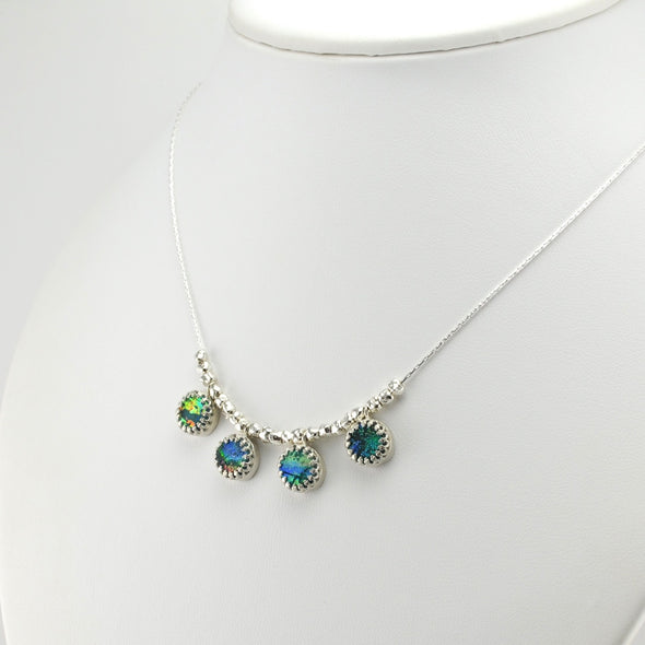 Silver 4 Round Roman Glass Dangle Necklace