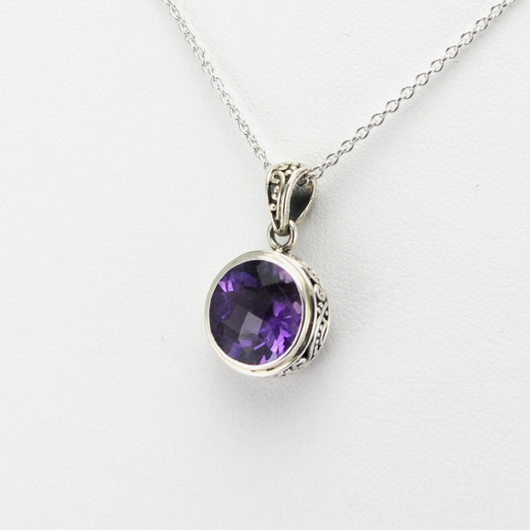Silver Amethyst 10mm Round Bali Necklace