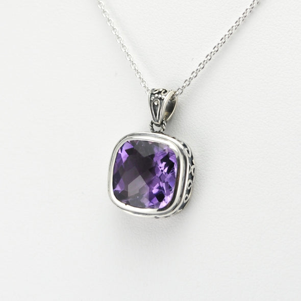 Side View Silver Amethyst 12mm Square Bali Necklace