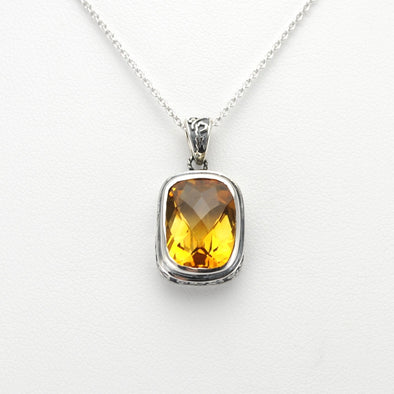 Silver Citrine 10x15mm Rectangular Bali Necklace