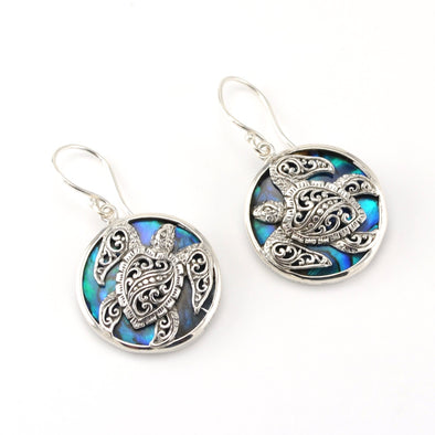 Silver Blue Abalone Bali Sea Turtle Earrings