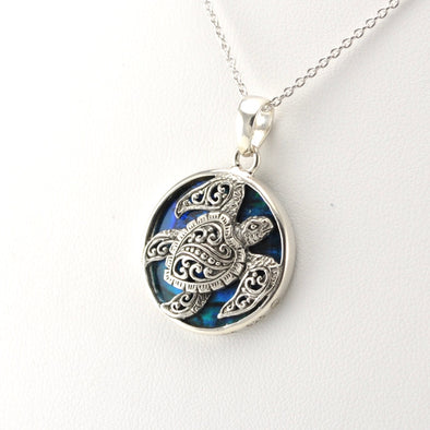 Silver Blue Abalone Bali Sea Turtle Small Pendant