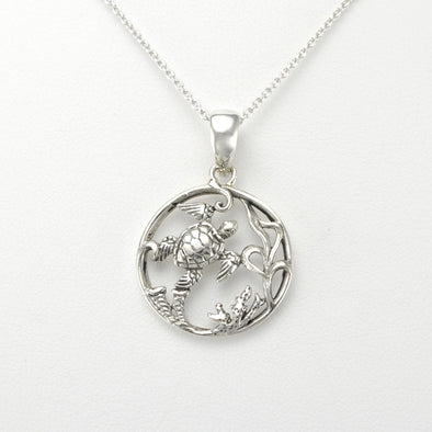 Silver Sea Turtle Round Small Necklace
