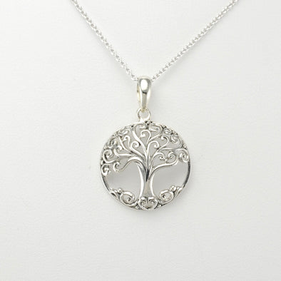Silver Tree Round Small Necklace
