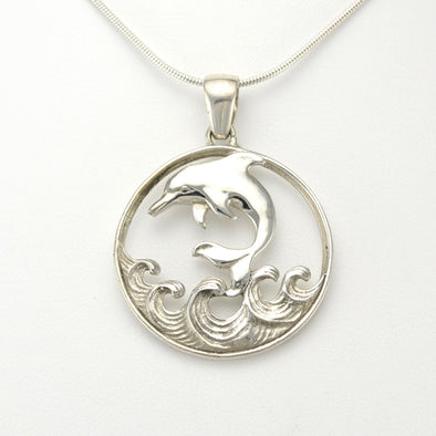 Silver Dolphin on a Wave Round Pendant