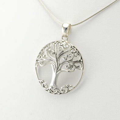 Side View Silver Tree Round Large Pendant