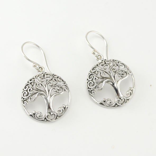 Silver Tree of Life Round Earrings