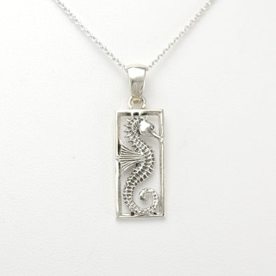 Silver Starfish Rectangular Necklace