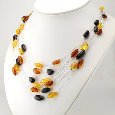 Multi Amber Nugget Necklace