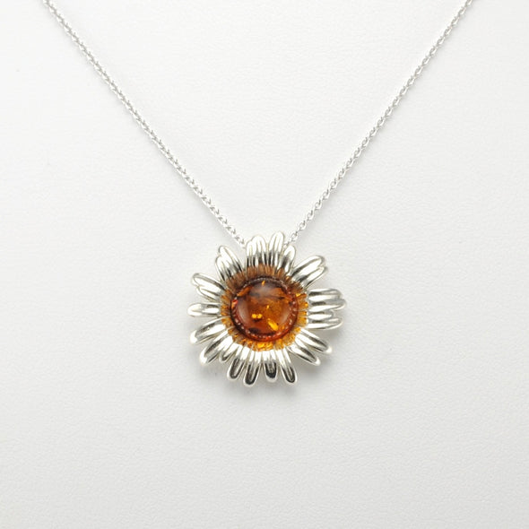 Silver Baltic Amber Daisy Necklace