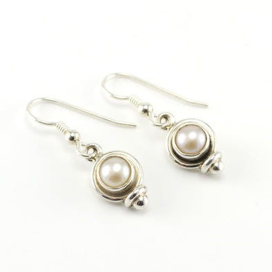 Silver Pearl Dangle Earrings