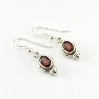 Silver Garnet 5x7mm Oval Dangle Earrings