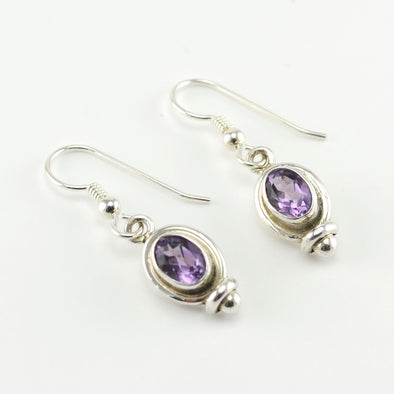 Silver Amethyst 5x7mm Dangle Earrings