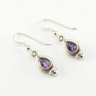 Silver Amethyst 5x7mm Tear Earrings
