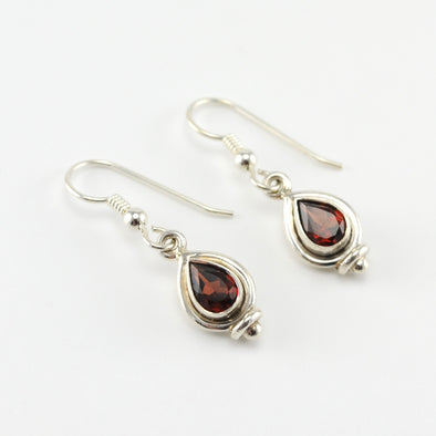 Silver Garnet 5x7mm Tear Earrings