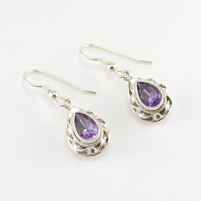 Silver Amethyst 6x8mm Teardrop Dangle Earrings