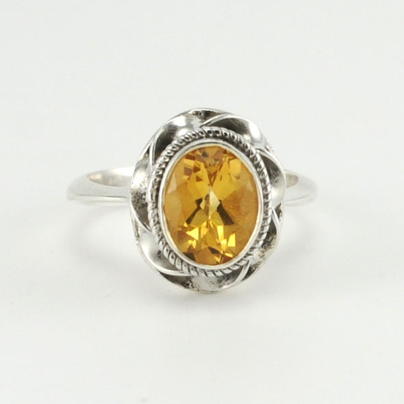 Silver Citrine 7x9mm Oval Ring