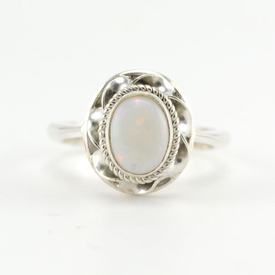 Silver Australian Opal 7x9mm Oval Ring