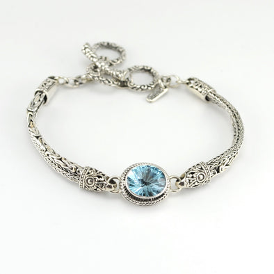 Silver Blue Topaz Oval Bali Toggle Bracelet