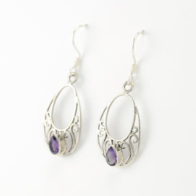 Sterling Silver Amethyst Tear in Open Filigree Oval Earrings
