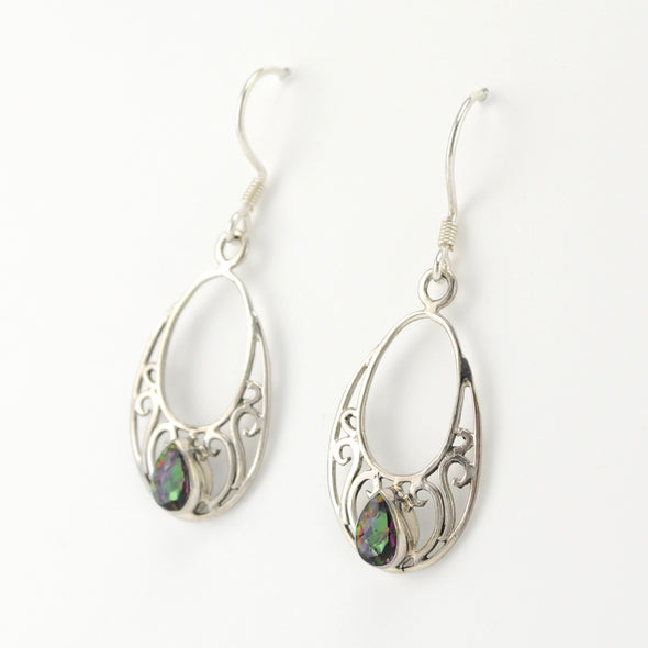 Silver Mystic Topaz Tear in Open Filigree Oval Earrings