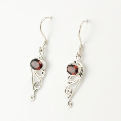 Sterling Silver Garnet Oval Scroll Earrings