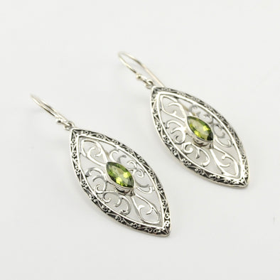 Silver Peridot Marquise Bali Earrings