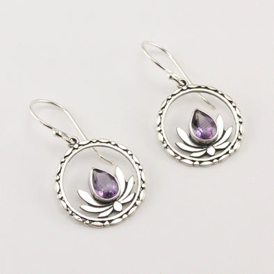 Silver Amethyst Circle Lotus Earrings