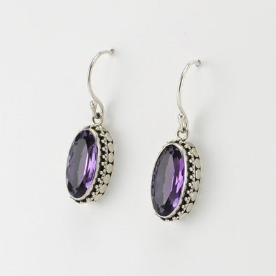 Silver Amethyst Long Oval Bali Earrings