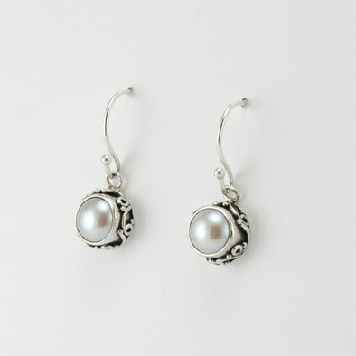 Silver Pearl Bali Drop Earrings
