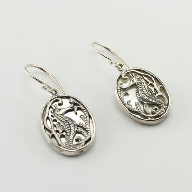 Silver Mother of Pearl Oval Seahorse Earrings