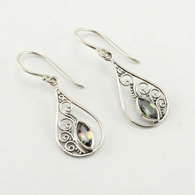 Silver Mystic Quartz Marquise in Tear Earrings