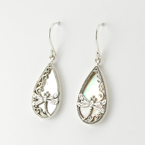 Silver Mother of Pearl Dragonfly Tear Earrings