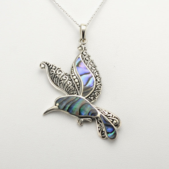 Silver Abalone Hummingbird Necklace