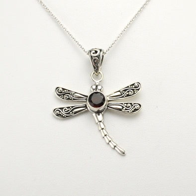 Silver Garnet Dragonfly Necklace
