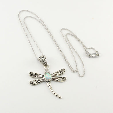 Silver Created Opal Dragonfly Necklace