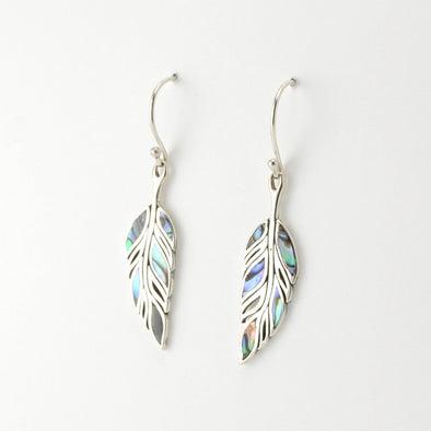 Silver Abalone Feather Earrings