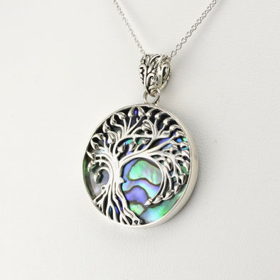 Silver Abalone Willow Tree Pendant
